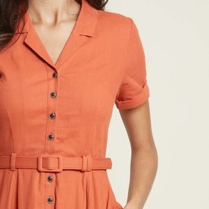Collectif x MC Cherished Era Shirt Dress ORANGE M